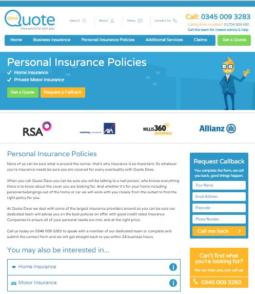 Screenshot of Personal Insurance Policies Quote Dave Screenshot