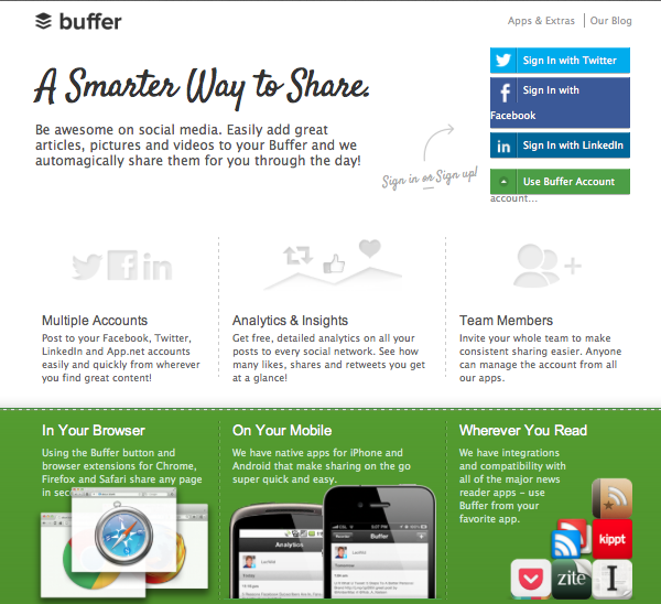 Screenshot of Buffer Website