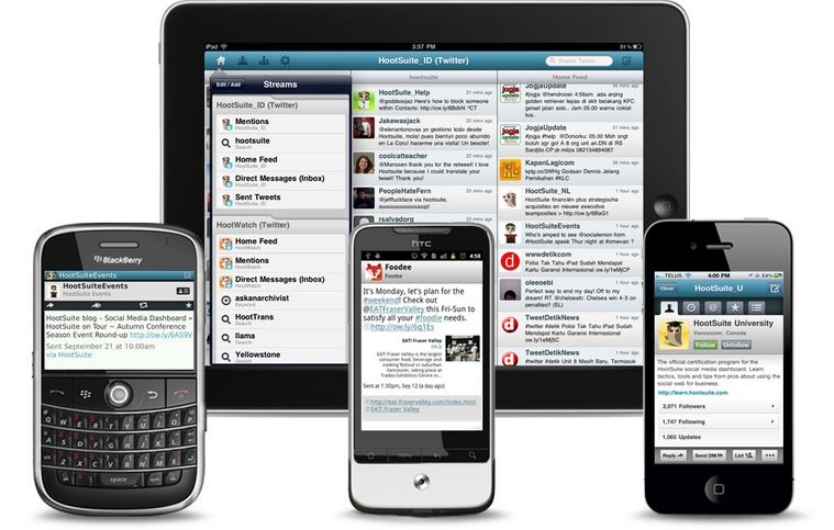 Hootsuite shown on multiple devices