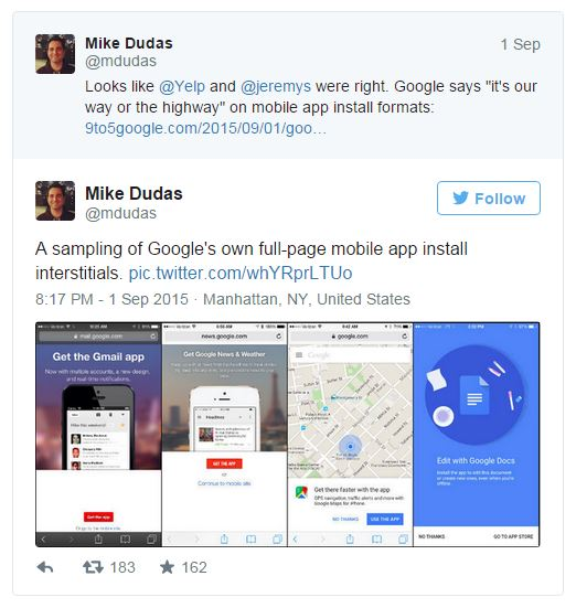 Tweet from Mike Dudas