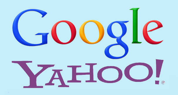 Google and Yahoo Logos with light blue background