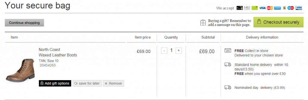 Marks and Spencers checkout page