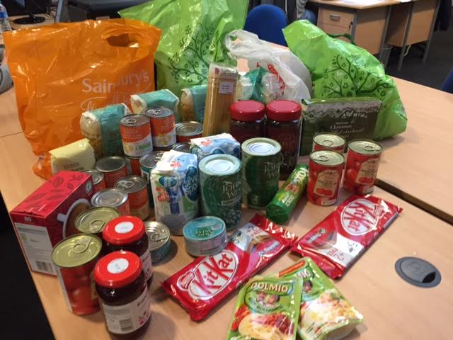 Food for charity on office desk