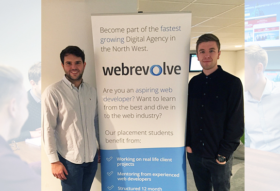 Webrevolve Team with agency board at LJMU