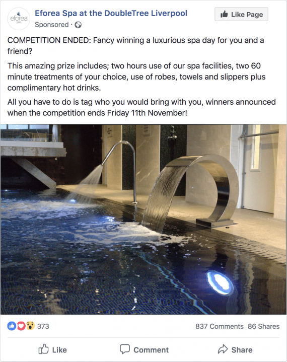 Eforea Spa Facebook spa day competition