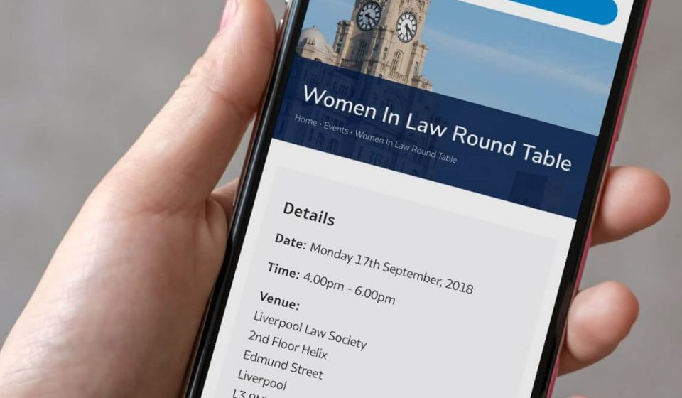 Phone showing Liverpool Law Society Booking an event