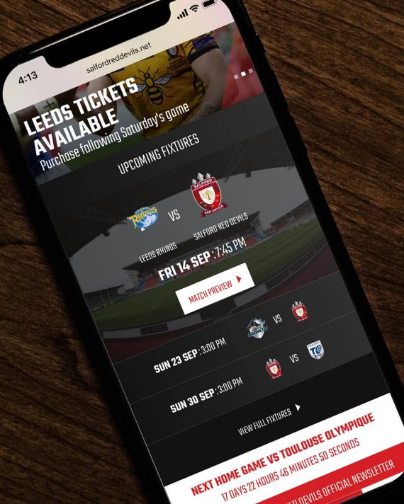 Salford Red Devils website on a mobile
