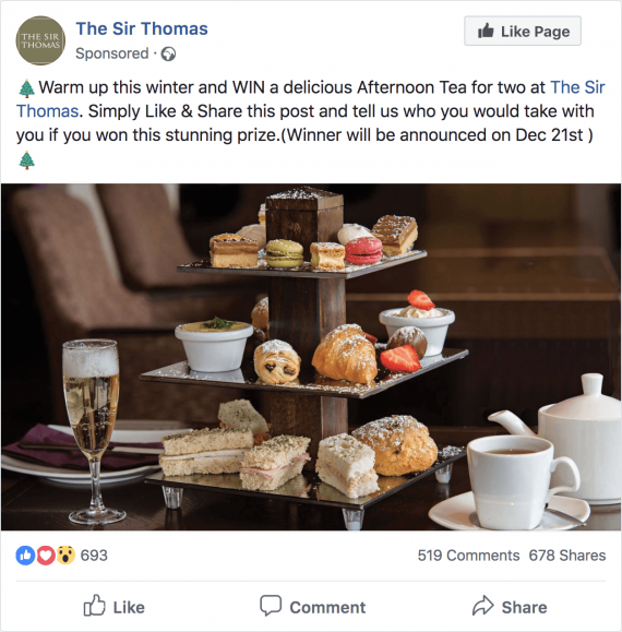 Sir Thomas Facebook Afternoon Tea competition