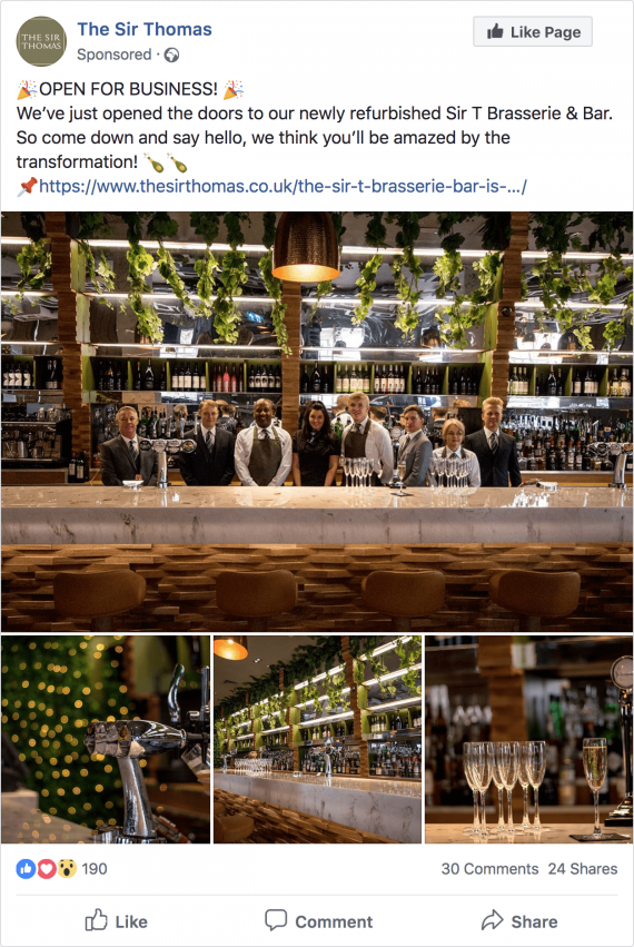 Sir Thomas Facebook opening post