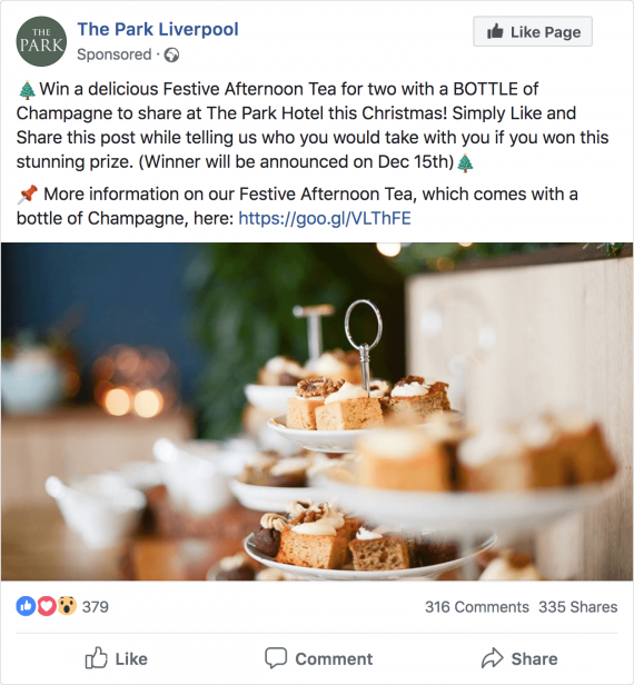 The Park Facebook Afternoon Tea competition