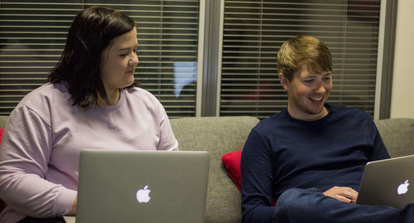 Rachel Evans and Tom Hughes talk web on the couch