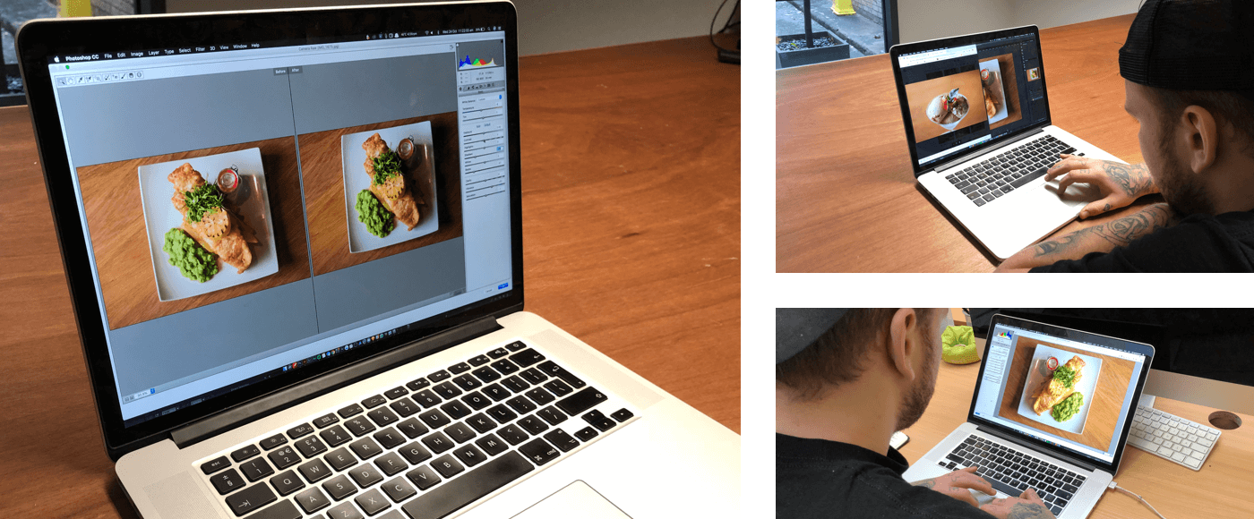 3 Images of a laptop showing the editing process for the food images