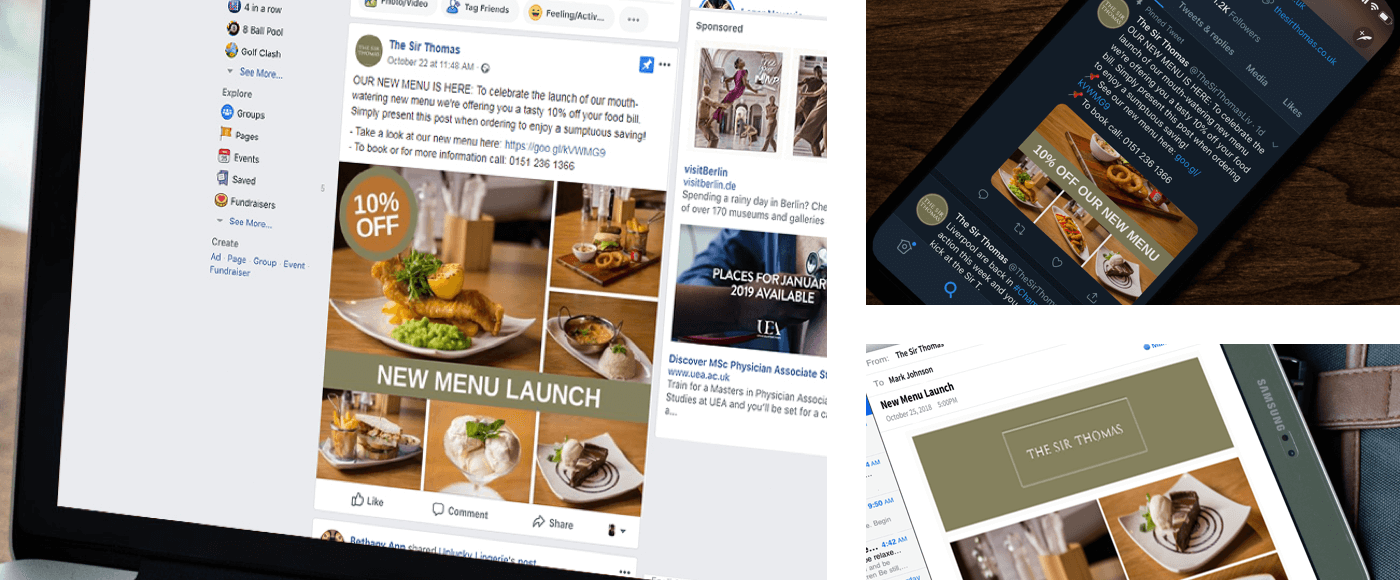 3 Images showing different versions of the Sir Thomas Hotel New Menu