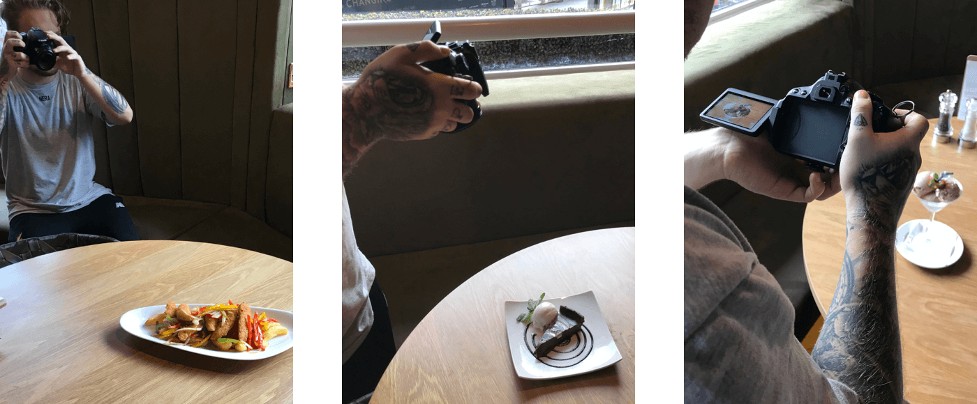 3 Images showing a photographer take pictures of food