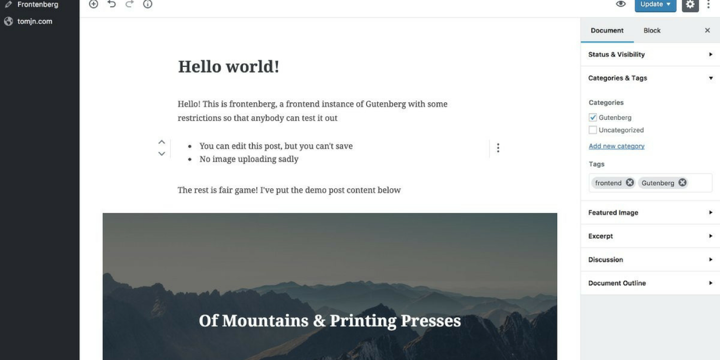 Wordpress Hello World webpage