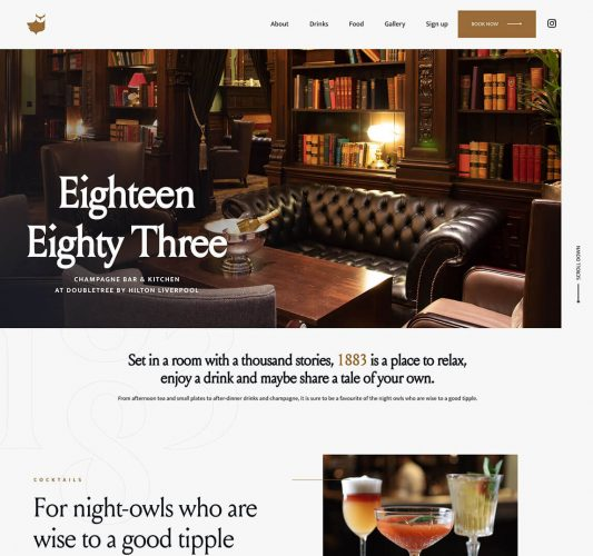 Homepage for Eighteen Eighty Three champagne bar at Doubletree by Hilton